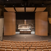 The Theater at Copia, an event venue suitable for cooking demonstrations, presentations, lectures, and private movie showings at the CIA at Copia in Napa, CA.