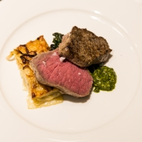 Plated steak dish served at an event hosted by the CIA at Copia in Napa, CA.