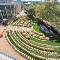 The Jackson Family Wines Amphitheater set up for a wedding reception at the CIA at Copia in Napa, CA.