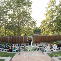 Outdoor wedding ceremony at the Jackson Family Wines Amphitheater at the CIA at Copia in Napa, CA.