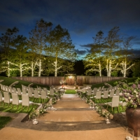 The Jackson Family Wines Amphitheater set up for a wedding at the CIA at Copia in Napa, CA.