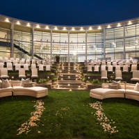 The Jackson Family Wines Amphitheater set up for an evening wedding at the CIA at Copia in Napa, CA.