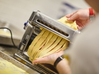 Making fresh pasta at the Gatehouse Restaurant at the CIA Greystone campus in St. Helena, CA.