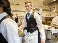 CIA students in the kitchen of the Gatehouse Restaurant at the Greystone campus in St. Helena, CA.