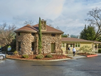 Exterior views of the Gatehouse Restaurant at the CIA Greystone campus in St. Helena, CA.