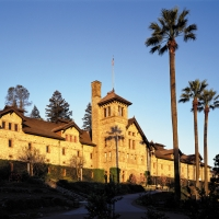 Historic stone building of The Culinary Institute of America at Greystone in St. Helena, CA.