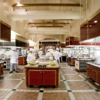 The teaching kitchens at The Culinary Institute of America at Greystone in St. Helena, CA.