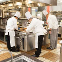 Chefs in the Viking Teaching Kitchen at The Culinary Institute of America at Greystone in St. Helena, CA.