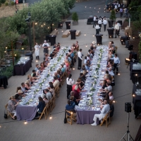 Wedding reception on the Herb Terrace at The Culinary Institute of America at Greystone in St. Helena, CA.