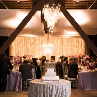 Wedding reception in the Barrel Room at The Culinary Institute of America at Greystone in St. Helena, CA.