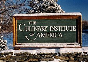 Culinary Institute of America sign in winter.