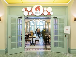 The entrance to the Culinary Institute of America's Apple Pie Bakery Café in Hyde Park, NY.