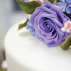 Flowers on a wedding cake, made for a wedding at The Culinary Institute of America.