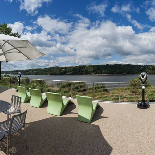 Patio overlooking the Hudson River at The Egg, a restaurant with a private dining room and adjoining patio on the campus of The Culinary Institute of America in Hyde Park, NY.