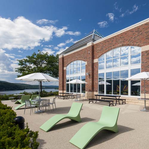 Patio seating at The Egg, a restaurant with a private dining room and adjoining patio on the campus of The Culinary Institute of America in Hyde Park, NY.