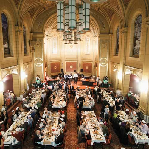 Dining event in Farquharson Hall, located in Roth Hall on the campus of The Culinary Institute of America in Hyde Park, NY.