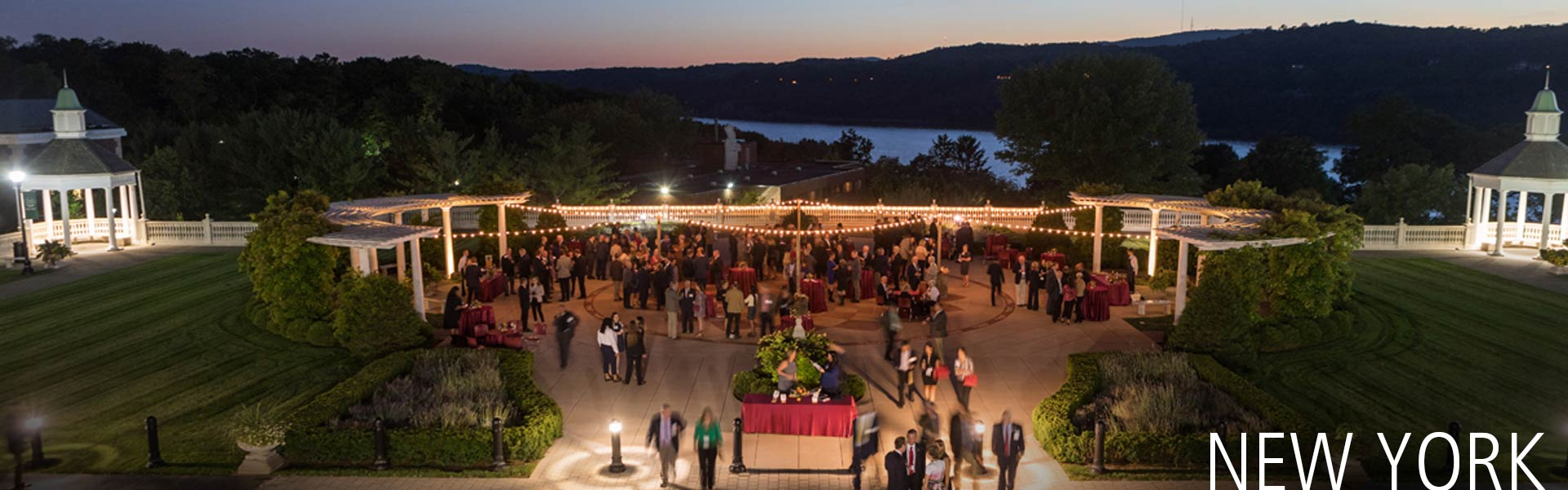 Outdoor event on Anton Plaza overlooking the Hudson River, an outside event venue on the campus of The Culinary Institute of America in Hyde Park, NY.