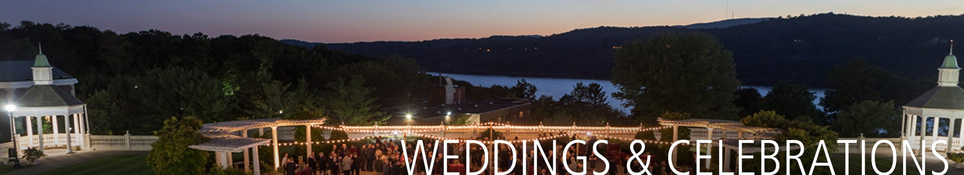 Outdoor wedding on Anton Plaza overlooking the Hudson River, an outdoor wedding venue on the campus of The Culinary Institute of America in Hyde Park, NY.