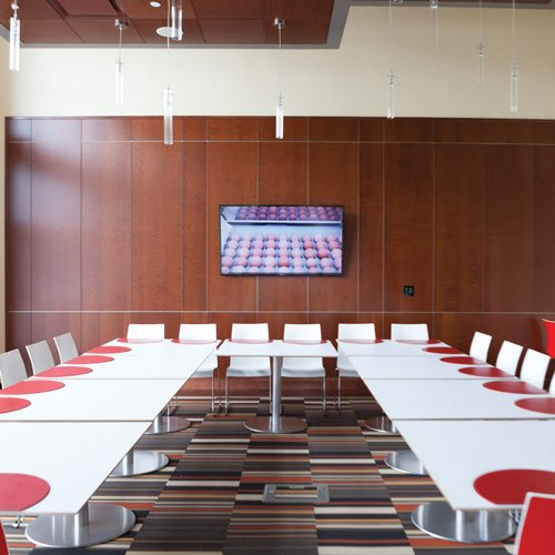 Tables in the private dining room of The Egg, on the campus of The Culinary Institute of America in Hyde Park, NY.